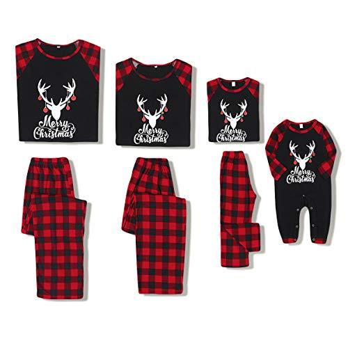 ZOEREA Pijamas de Navidad Familiar Dos Piezas Ropa de Dormir Mameluco Ropa de Casa Familia Conjunto Mangas Largas Top y Pantalon para Mamá Papá Niños Bebés