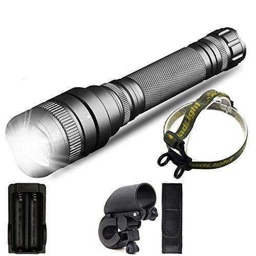 ykw Linterna LED de Gran Alcance con Zoom, batería de 8000 LM, Linterna de Caza Impermeable, Linterna de luz (batería de 5200 mAh)