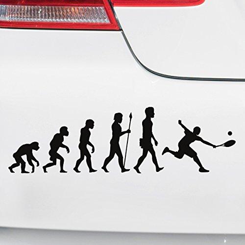 Motoking Autoaufkleber - Lustige Sprüche & Motive für Ihr Auto - Evolution Tennis - 25 x 7,3 cm - Gold Seidenmatt