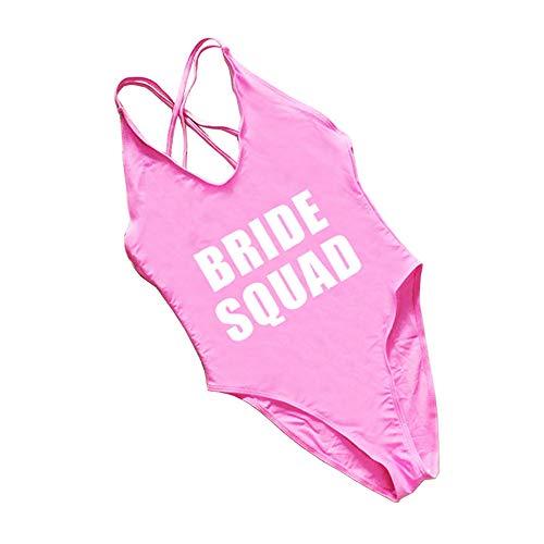 shifeier Bride Squad One Piece Swimsuit Bachelorette Bathing Suit Pink
