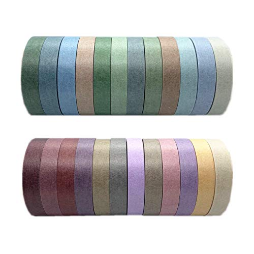 VIVIQUEN 24 Rolls Washi Tape Set Colored Masking Tape Pack Decorative Thin Tapes Children and Gifts Warpping (Nature Color 7.5mm)