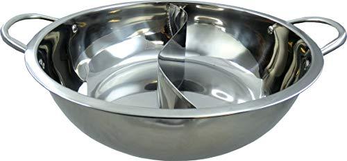 JADE TEMPLE Hot Pot Wok, stainless steel, mit praktischer Trennwand und 32 cm Innendurchmesser, mit Doppelgriff, 1x Hot Pot Wok