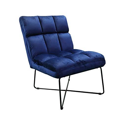 Hodge and Hodge Slipper-Stuhl, Samt, gepolstert mit Plüschsamt-Stoff, ideal zum Entspannen zu Hause, Wohnzimmer, Schlafzimmer, Esszimmer oder Büro, Dunkelblau