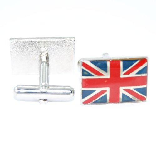 Gemelolandia Boutons de manchette avec motif drapeau britannique rétro de forme rectangulaire de couleur bleu/blanc