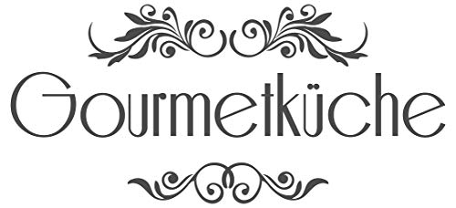 dekodino® Wandtattoo Spruch Küche Gourmetküche mit Verzierung Wanddeko