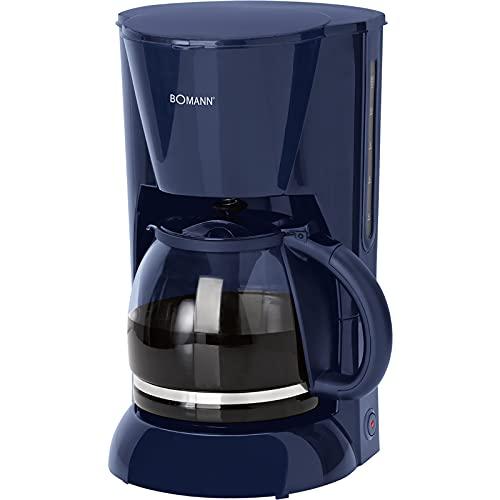 Kaffeemaschine Filtermaschine Glaskanne 1,5 Liter Wasserstandsanzeige Kaffeeautomat 12 Tassen (Herausnehmbarer Filtereinsatz, Warmhalteplatte, 900 Watt, Blau)