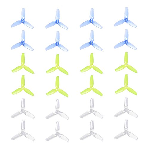GEMFAN 24pcs Flash 2540-3 Propellers 2.5x4.0 Inch Triblade Props 3-Blade Compatible with 1104 -1105 1106 FPV Mini Racing Motors (Mix Colors)