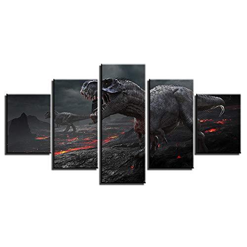 Lienzos Decorativos-Jurásico Dinkey-decoración de la Imagen óleo para el hogar decoración Moderna impresión 5 Cuadros de Madera para Pared20x35cmx2+20x45cmx2+20x55cmx1
