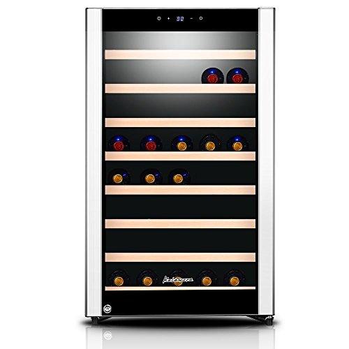 Kalamera KRC-52SZF Design Weinkühlschrank Weinflaschen Kühlschrank für bis zu 52 Flaschen Single Temperaturzonen 5-18°C,120 Liter, LED Bedienoberfläche Edelstahl