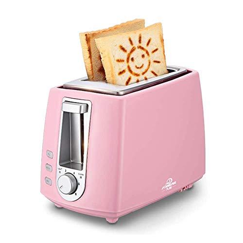 Bread maker Grille-Pain, Maison conducteur de Spit, Petit déjeuner 2 tranches Grille-Pain, Acier Inoxydable, 680W, 2 Couleurs Disponibles,Pink