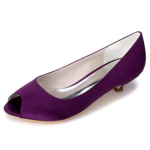 Damen Satin Hochzeit Low Heels Braut runde Kappe Pumps Abend Party Schuhe Damen Prom Brautjungfer Court Shoes / 3P 0700-01, Purple, 40
