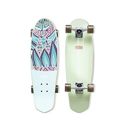 Hignful Carver Skateboards Mini Cruiser Board Komplettboard Surfskate Tanzbrett Brush Street Longboard Deluxe 8-Lagiges Kanadisches Ahorn-Skateboard Für Einsteiger ABEC-11 Kugellager