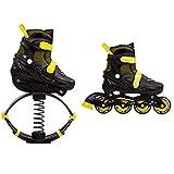 WYJW Scarpe da Salto Stivali da Salto Pattini a rotelle 2 in 1 + Scarpe da Rimbalzo per Bambini Pattini in Linea per Adolescenti Scarpe da Skate da Salto Sportive, Giallo-L