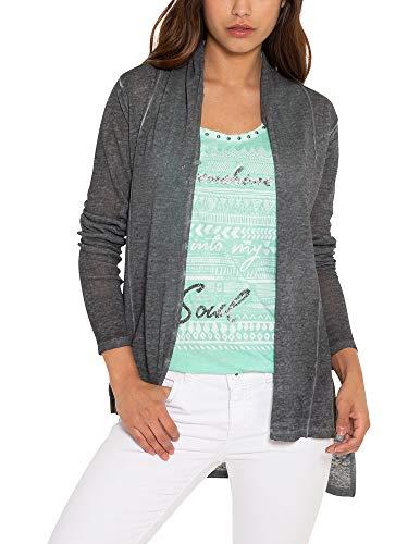 SOCCX Damen Cardigan mit Schalkragen und Back Print