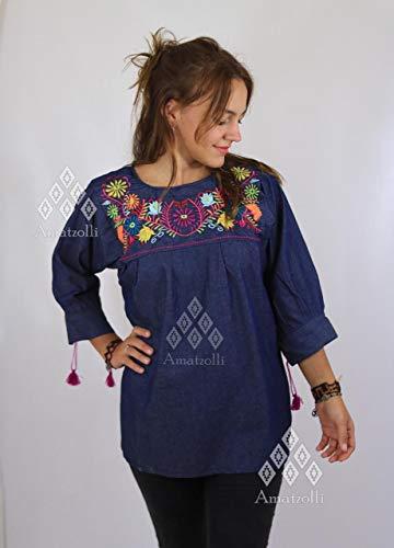 Blusa Blusón Mexicano de Mezclilla con Bordado Típico modelo Jardín