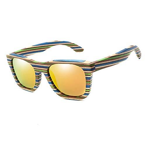 Legno Polarizzato Occhiali da Sole Donne degli Uomini, Occhiali da Sole di Sport Ultra Light Trend Occhiali da Sole Maschile Beach Golf Ciclismo Pesca Occhiali da Sole Protezione UV400,Arancia