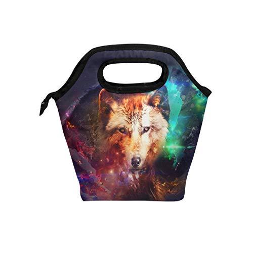 Lianchenyi Galaxy Tête de Loup Cooler chaud avec sacs à lunch Boîte à lunch pour l'école Portable repas Sacs à main à nourriture Sac pour pique-nique