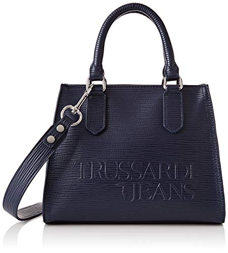 Trussardi Jeans T-Tote SM Saffiano High Freque, Borsa Donna, Blu (Navy...