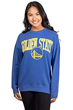 Ultra Game NBA Golden State Warriors Womens Extra Soft Fleece Distressed Oversized Pullover Sweatshirt Team Color Small