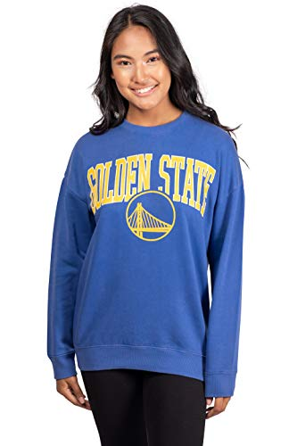 Ultra Game NBA Golden State Warriors Womens Extra Soft Fleece Distressed Oversized Pullover Sweatshirt, Team Color, Medium