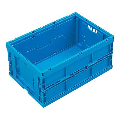 Faltbox aus Polypropylen - Inhalt 54 l - ohne Deckel, blau - Behälter aus Kunststoff Faltbox Faltboxen Klappbehälter Klappbox Klappboxen Kunststoff-Behälter Lagerkasten Lagerkästen Stapelbehälters Kunststoff Stapelkasten aus Kunststoff Stapelkästenstoff