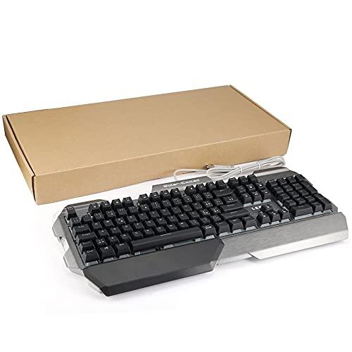 LESHP長寿命有線USB発光7色LEDバックライトマルチメディアメカニカルゲームキーボード、手首サポート付き