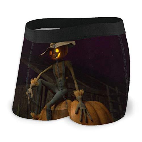 Drempad Boxer Aderenti da Uomo, Men's Boxer Brief Halloween Scarecrow Pumpkin Protection Boxershorts Slip Boxer Pantaloncini