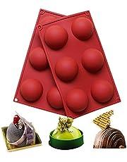 BAKER DEPOT Silikonowa forma z 6 otworami do czekolady, ciasta, galaretek, puddingu, ręcznie robionego mydła, okrągły kształt, średnica: 5 1/2 cala, zestaw 2