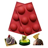 BAKER DEPOT 6 Holes Silicone Mold For Chocolate, Cake, Jelly, Pudding, Handmade Soap, Roun...