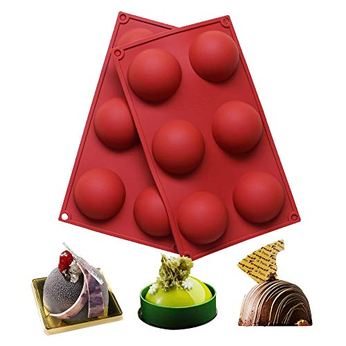 BAKER DEPOT 6 Holes Silicone Mold For Chocolate, Cake, Jelly, Pudding, Handmade Soap, Round Shape, Dia: 2 1/2 inches, Set of 2, M