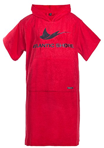 Atlantic Shore | Surf Poncho ➤ Bademantel/Umziehhilfe aus hochwertiger Baumwolle ➤ Red - Long