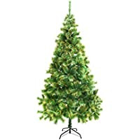 Aleko 7 Ft Artificial Holiday Golden Glitter Tips Pine Tree