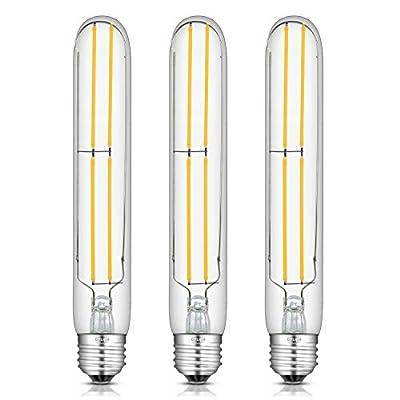 CRLight 8W Dimmable LED Tubular Bulb 80W Equivalent 800LM, 3000K Soft White E26 Medium Base, Antique Edison Style T30 x 185MM Tubular Clear Glass LED Filament Light Bulbs, 3 Pack