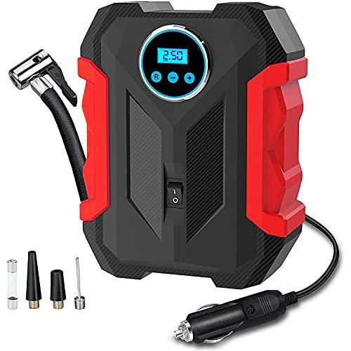 Exanko Compresor de Aire Digital para Bomba de AutomóVil Inflador de NeumáTicos PortáTil con Luz LED 12V 120W, Apagado AutomáTico de la Bomba de Aire, Rojo