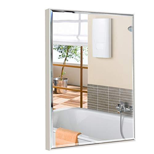 Eono Essentials Grand Miroir Mural en Verre Anti-Explosion, avec Cadre Blanc, pour Maquillage et salles de Bain, Toilettes et Salons, 76 x 56 cm
