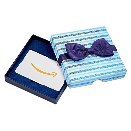 Amazon.co.uk Gift Card in a Blue Bow Tie Box