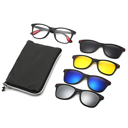 JABC Magnetic Glasses 4 in 1 Anti-Blue Light Glasses Polarized Sunglasses Can be Equipped With Myopia Night Vision Multi-Function Driving Mirror