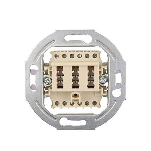 Telefondose TAE NF/F - 2x6/6 NFF - Anschlussdose - Unterputz UP - ohne Abdeckung - 2X Telefon + 1x Nebenstelle Fax AB Modem NTBA DSL-Splitter - beige