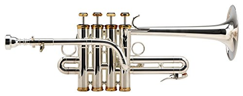Lechgold PT-910S Piccolotrompete (Bohrung: 11,8mm, Schallbecher: 105mm, lange Bauform, hexagonale, versilberte Kappen, mit A-Stift, Mundstück und Leichtkoffer) silber