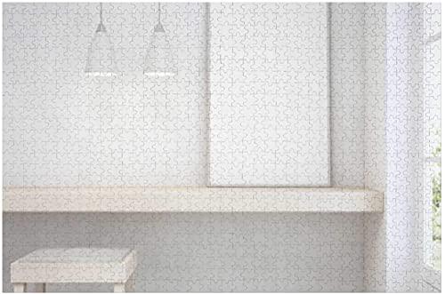 Weißer leerer Rahmen Mock-up auf Holztisch mit Betonwand -, Kinder-Puzzle denkende Hände auf Spielzeug-Stuhl und Schreibtisch in der Nähe der Tür im hellen Raum des modernen skandinavischen Hauses