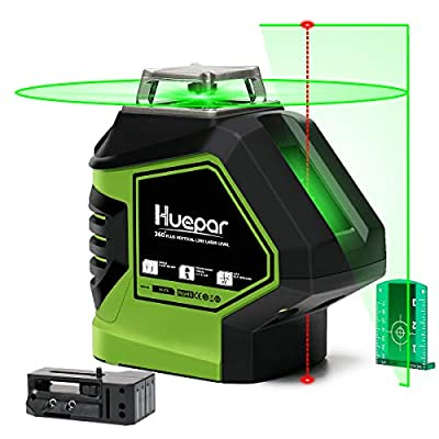 Huepar Self-Leveling Green Laser Level 360 Cross Line with 2 Plumb Dots Laser Tool -360-Degree Horizontal Line Plus Large Fan Angle of Vertical Beam with Up & Down Points -Magnetic Pivoting Base 621CG from FLGF
