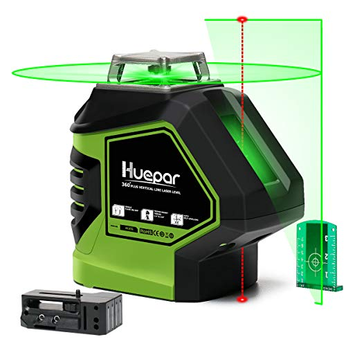 Huepar Self-Leveling Green Laser Level Cross Line with 2 Plumb Dots Laser Tool -360-Degree Horizontal Line Plus Large Fan Angle of Vertical Beam with Up & Down Points -Magnetic Pivoting Base 621CG