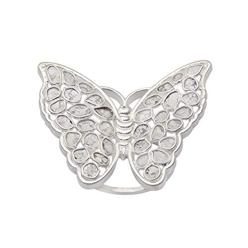 2.50 CTW Anillo de mujer con colcktail de aniversario de diseñador de mariposa polki de diamante sin cortar natural   Plata de ley 925 rodio blanco