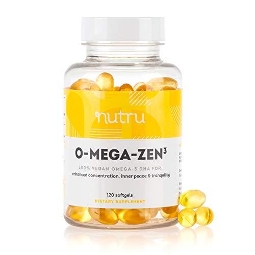 NuTru O-Mega-Zen3 Vegan Omega 3 DHA Supplement - 400 mg DHA Essential Fatty Acids- Algal Based Fish Oil Alternative - Supplements for Brain, Joint, Skin, & Heart Health - 120 Vegan Softgels