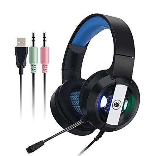 Auriculares para juegos con micrófono con cancelación de ruido, auriculares estéreo con luz LED RGB para niños y adultos, compatible con PC, PS4, Xbox One