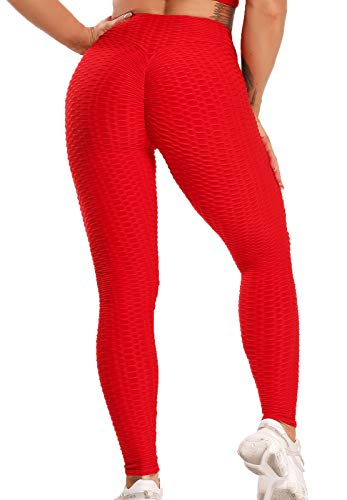 FITTOO Leggins Sportivi Donna Push up Pantaloni Tuta Yoga Pants Sexy Fitness Ginnastica Alta Elastico, M, Rosso