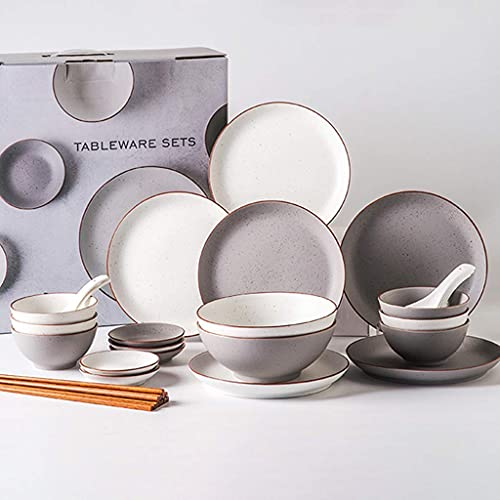 HCFSUK Juegos de vajilla de cerámica, Cuenco y Cuchara de Cereales y Plato Juego de vajilla de Estilo nórdico de 32 Piezas para reuniones Familiares
