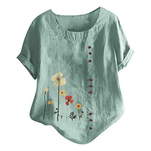 Damen Neue Baumwoll Leinen Tunika T-Shirt Oberseiten Taste Plus Größe Hemd...