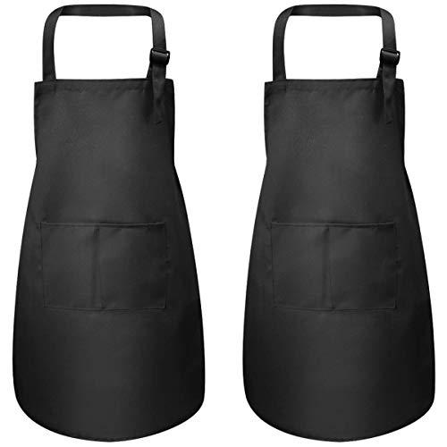 2 Stück Schwarz Kinder Schürzen mit Taschen, Verstellbare Kleinkind Kochschürze für Jungen Mädchen, Küchenschürze Malschürze, Kinder Künstler Schürzen für Basteln Malen Backen Kochen (7-13 Jahre)