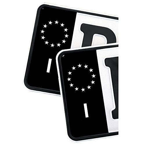 2 x Kennzeichen EU Feld Nummernschild Aufkleber Folie KFZ Schwarz (R059 Italien)